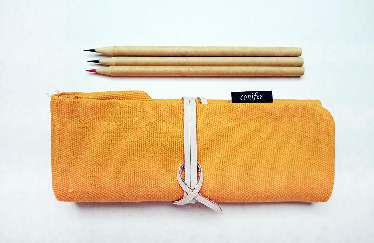 【綠的事務】Tissu牛津四格綁繩筆袋-黃