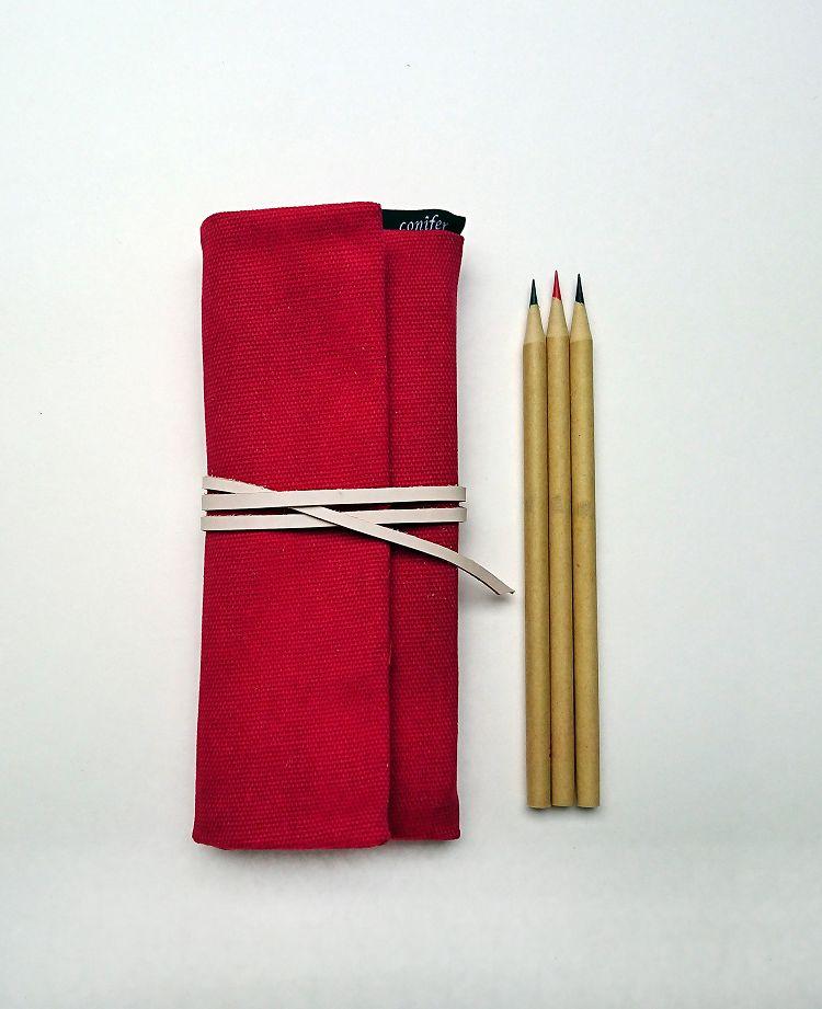 【綠的事務】Tissu牛津簡約綁繩筆袋-紅