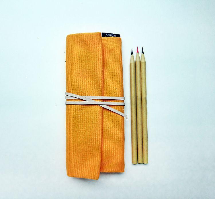 【綠的事務】Tissu牛津簡約綁繩筆袋-黃