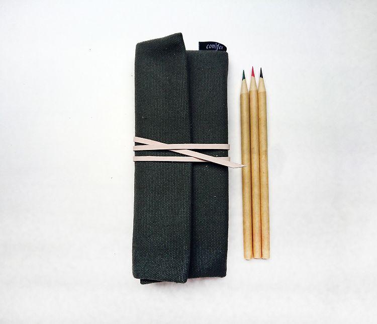 【綠的事務】Tissu牛津簡約綁繩筆袋-綠