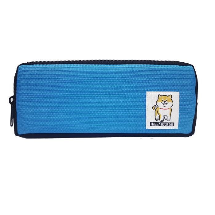 柴犬雙拉筆袋A-藍