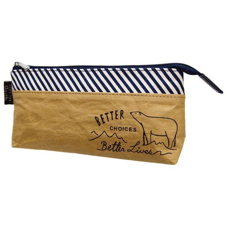 【四季紙品禮品】水洗牛皮紙-拉鍊筆袋-藍
