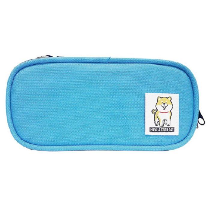 柴犬長型布筆盒A-藍