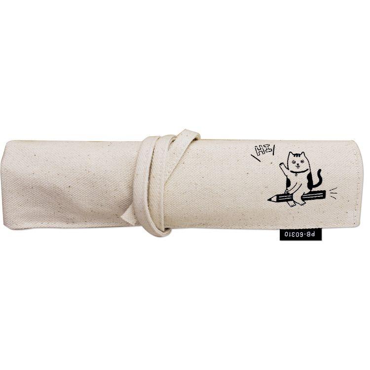 【珠友】布麻帆復古捲式筆袋-鉛筆貓