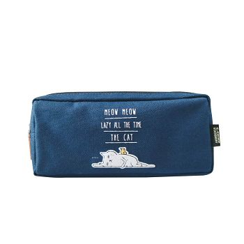 【青青】簡單生活喵Meow雙層筆袋-藍灰