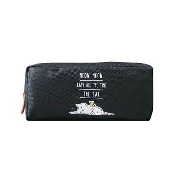 【青青】簡單生活喵Meow雙層筆袋-黑灰