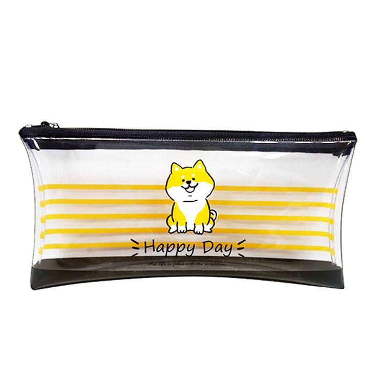 柴犬透明扁筆袋-黑