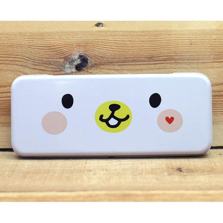 雙層鐵製筆盒(白熊笑臉)
