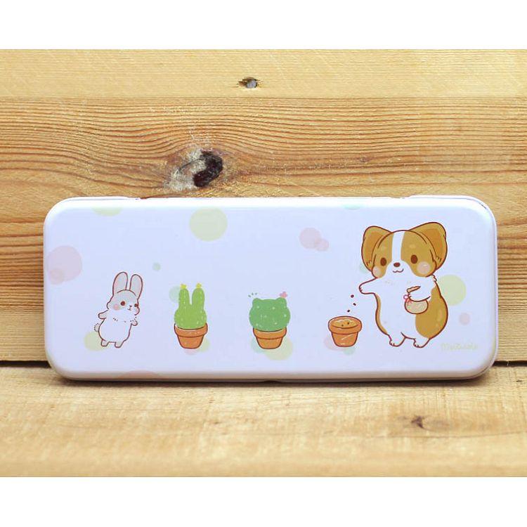 雙層鐵製筆盒(柯基犬卡卡)