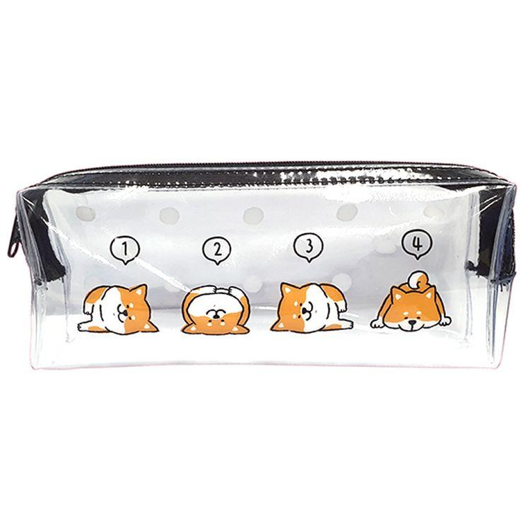 柴犬透明長型筆袋B-報數