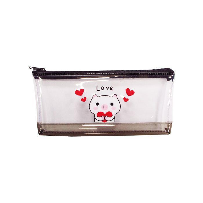 小白豬筆袋PVC(大)-黑