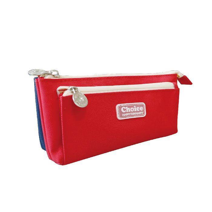 Choice-簡約玩色三層收納筆袋-紅
