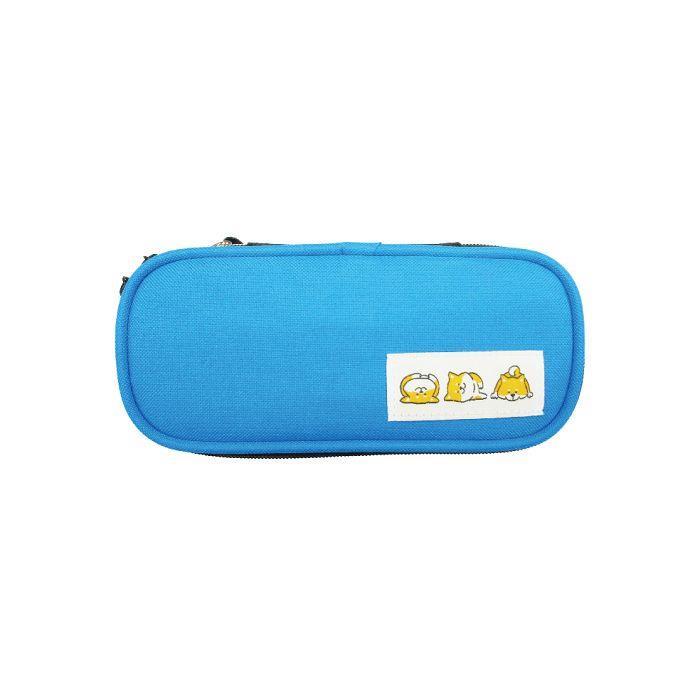 柴犬長型布筆盒-藍