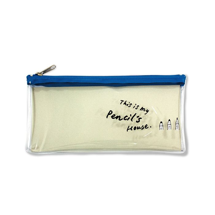 文具人透明筆袋-藍