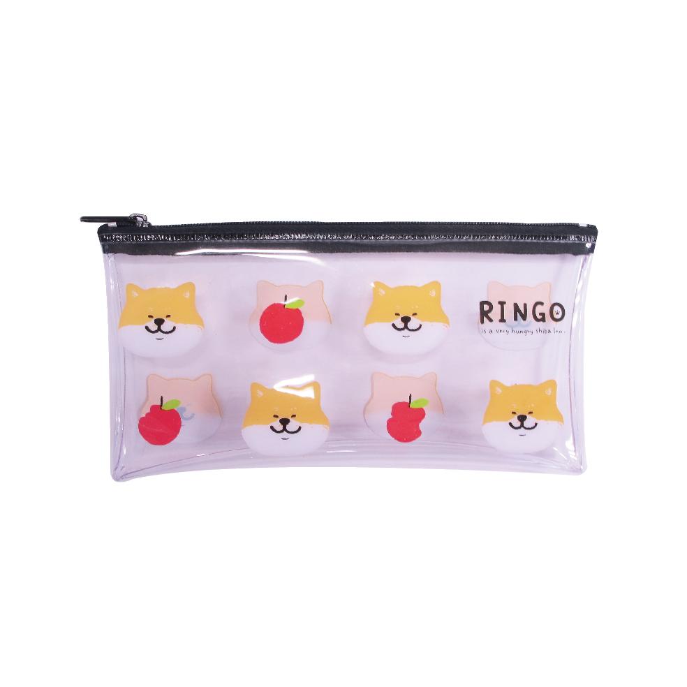 柴犬透明扁筆袋A-蘋果