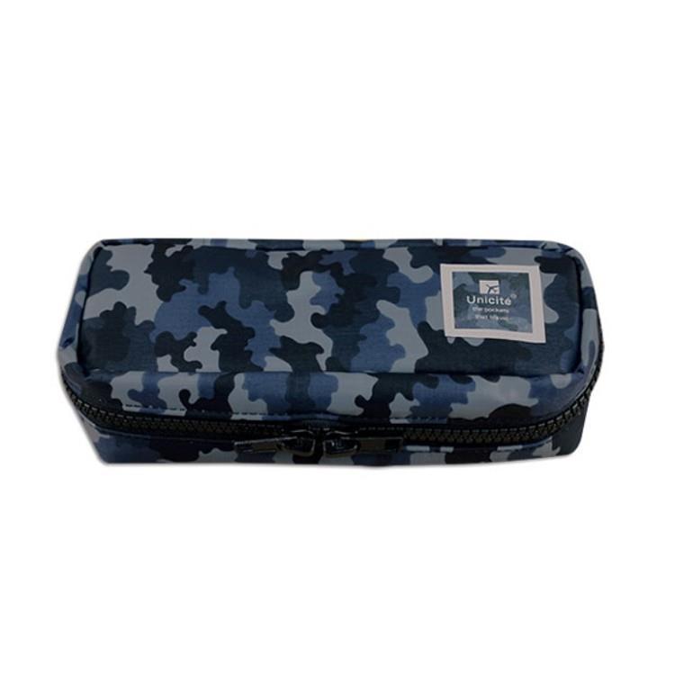 迷彩雙拉鍊筆袋-02藍