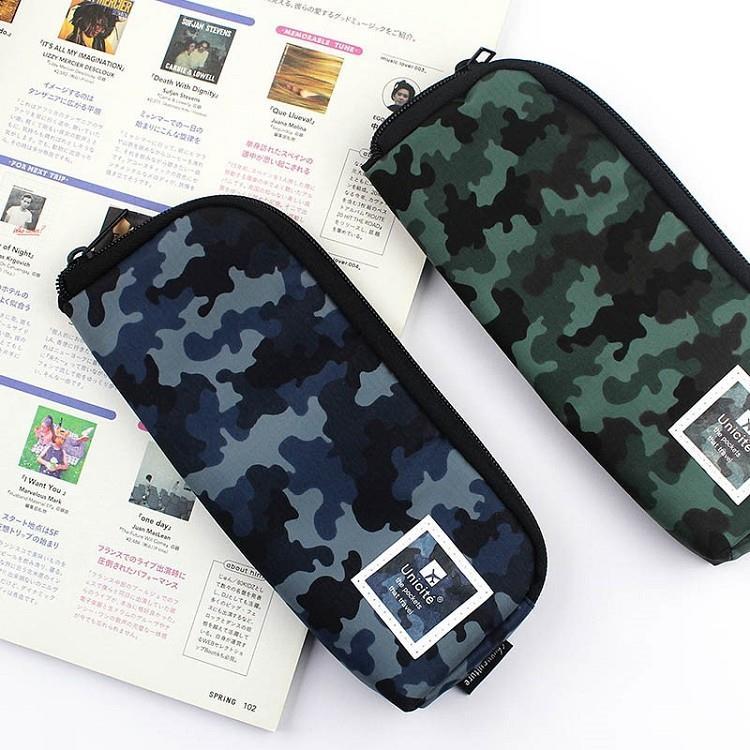 迷彩L型拉鍊筆袋-02藍