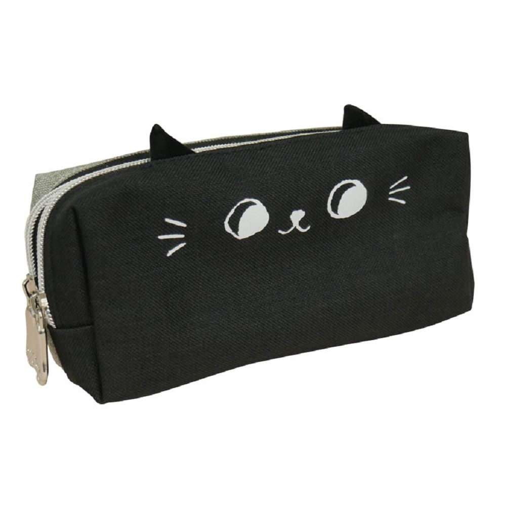 O-cat可愛貓耳雙拉鍊筆袋-黑