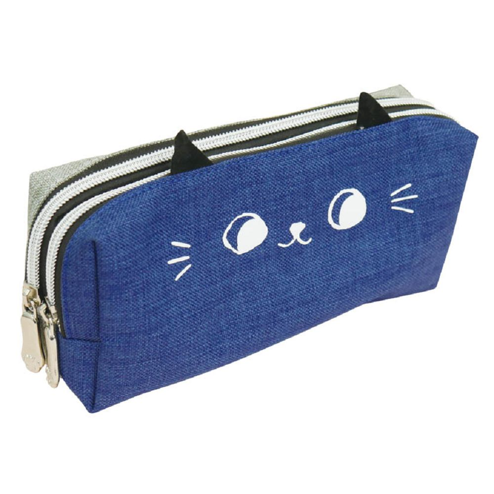 O-cat可愛貓耳雙拉鍊筆袋-藍