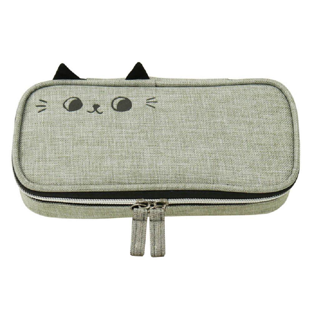 O-cat可愛貓耳上翻筆袋-灰