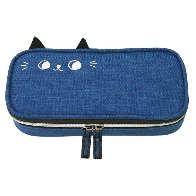 O-cat可愛貓耳上翻筆袋-藍