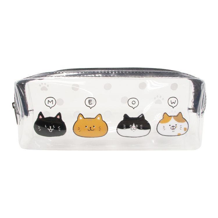 柴犬透明長型筆袋D-貓