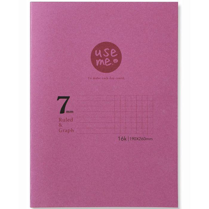 【三瑩】USEME16K橫罫+方眼定頁筆記-紫