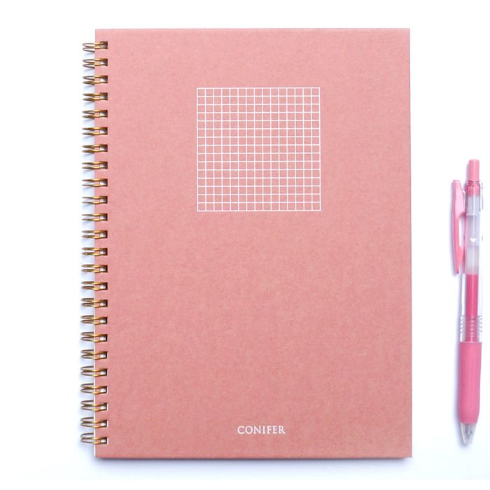 【Conifer綠的事務】25K 禪Zen 線圈方格筆記 - 紅絹