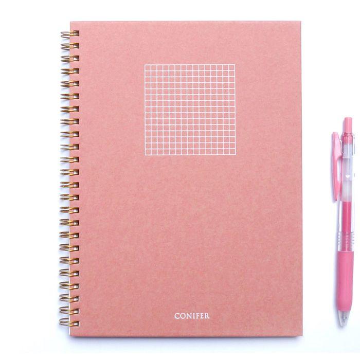 【Conifer綠的事務】32K 禪Zen 線圈方格筆記 - 紅絹