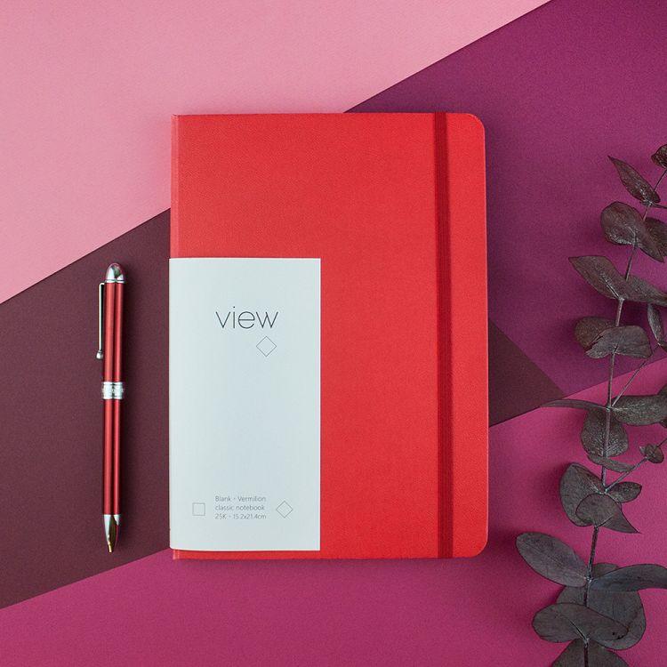 【綠的事務】25K 眼色View 精裝空白筆記 - 紅