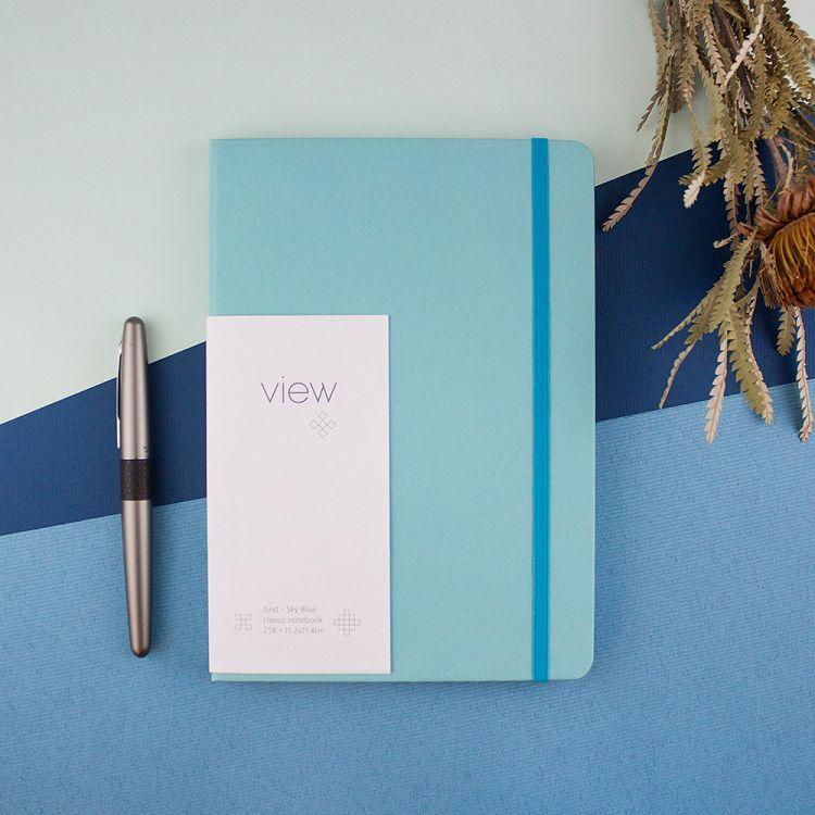 【綠的事務】25K 眼色View 精裝方格筆記 - 藍