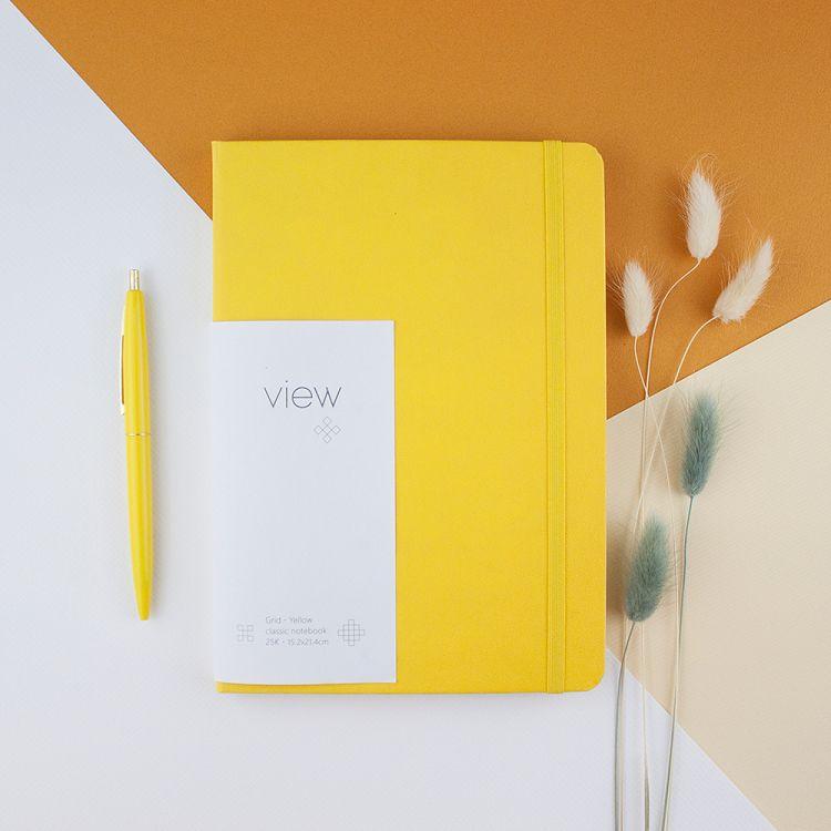 【綠的事務】25K 眼色View 精裝方格筆記 - 黃