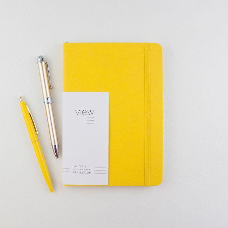 【綠的事務】32K 眼色View 精裝橫線筆記 - 黃