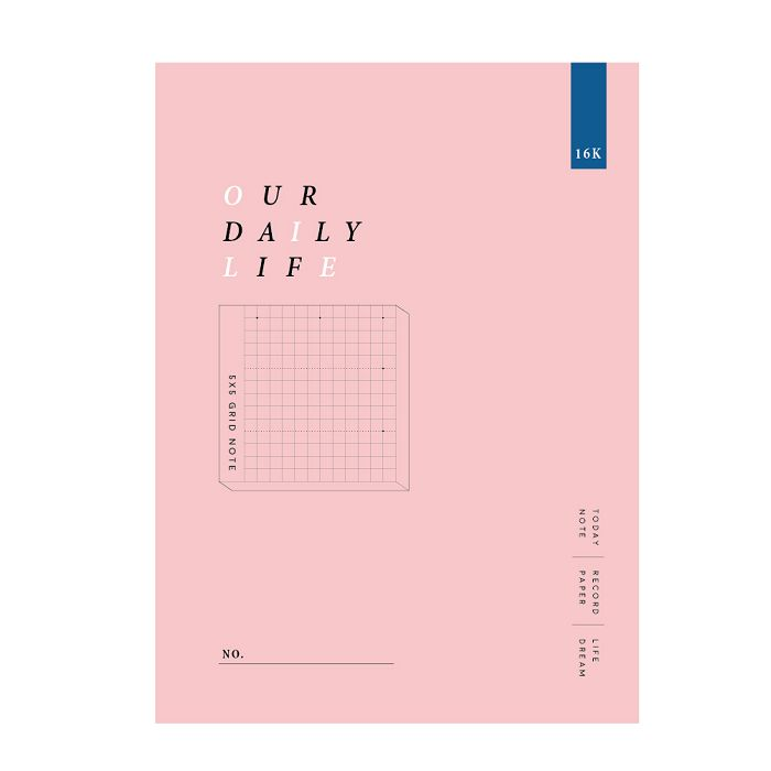 簡單生活-16k方格加厚定頁筆記-嫩粉