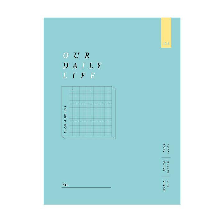 簡單生活-16k方格加厚定頁筆記-湖綠