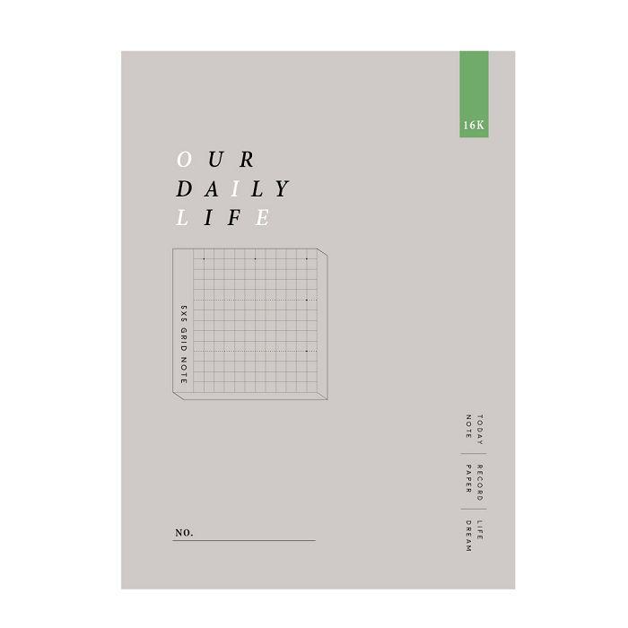 簡單生活-16k方格加厚定頁筆記-岩灰