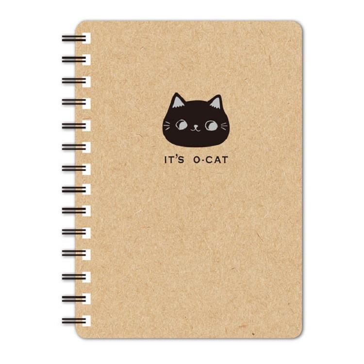 O-Cat斬型貓50K線圈橫線筆記本-牛皮