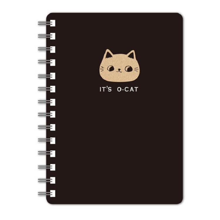 O-Cat斬型貓50K線圈橫線筆記本-黑