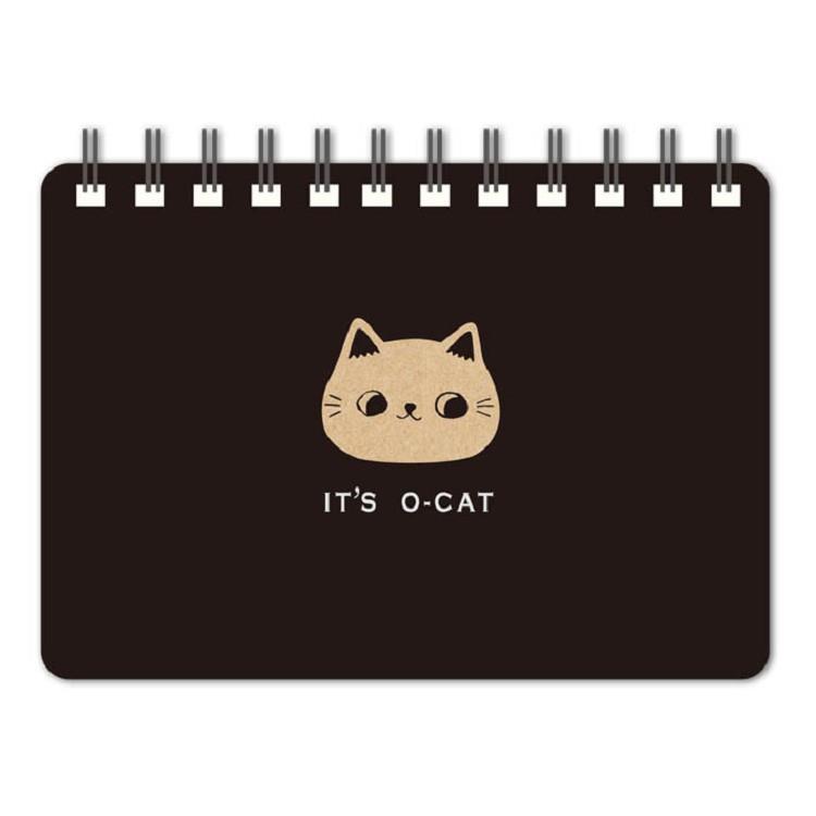 O-Cat斬型貓64K空白線圈筆記本-黑