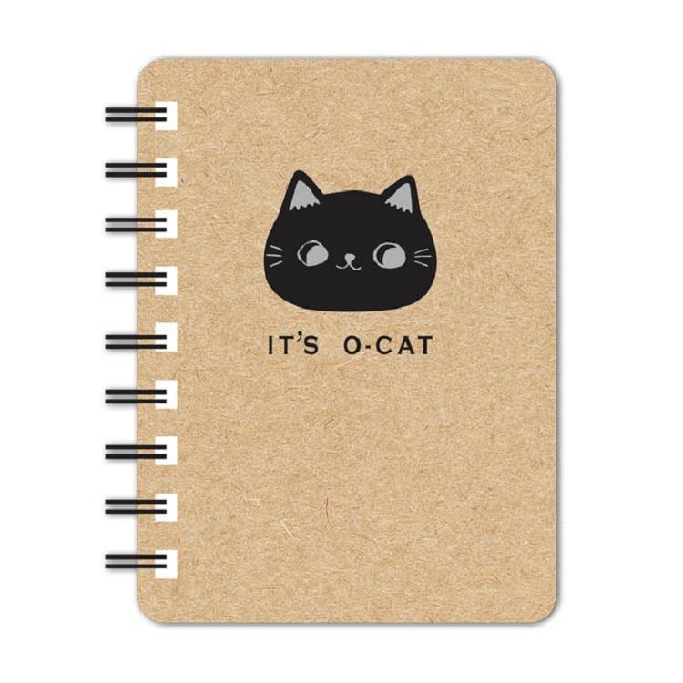 O-Cat斬型貓100K空白線圈筆記本-牛皮