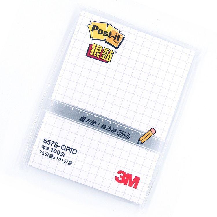 "3M 3""X4""方格狠黏便條紙-白657S-GRID"
