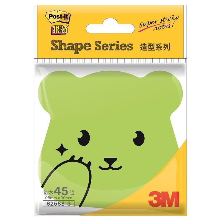 3M 4X4熊熊狠黏造型便條紙-綠625SB-3