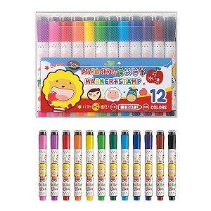 奶油獅SM001可水洗印章彩色筆12色