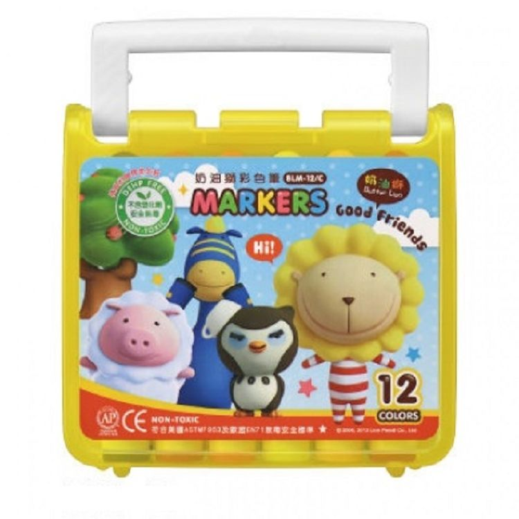 奶油獅透明盒彩色筆12色BLM-122  黃/紅/藍 3色 (隨機出貨)