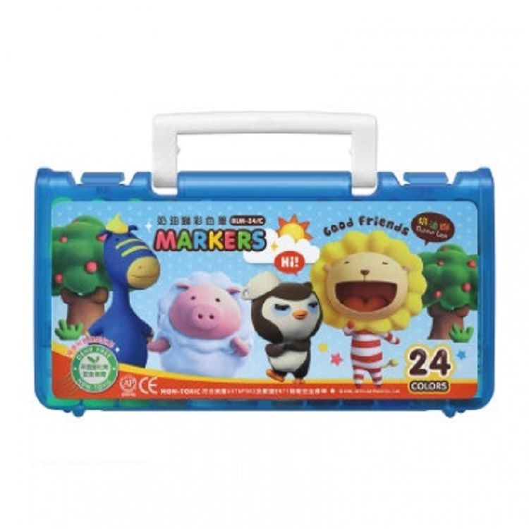 奶油獅透明盒彩色筆24色BLM-242 黃/紅/藍 3色(隨機出貨)
