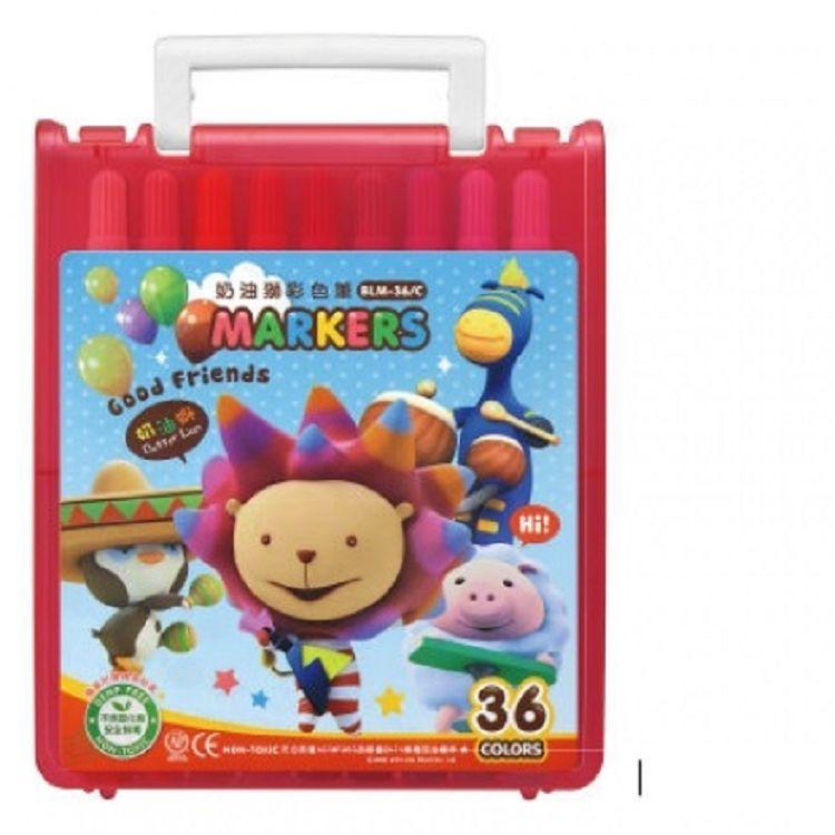 奶油獅透明盒彩色筆36色BLM-362  黃/紅/藍 3色 (隨機出貨)