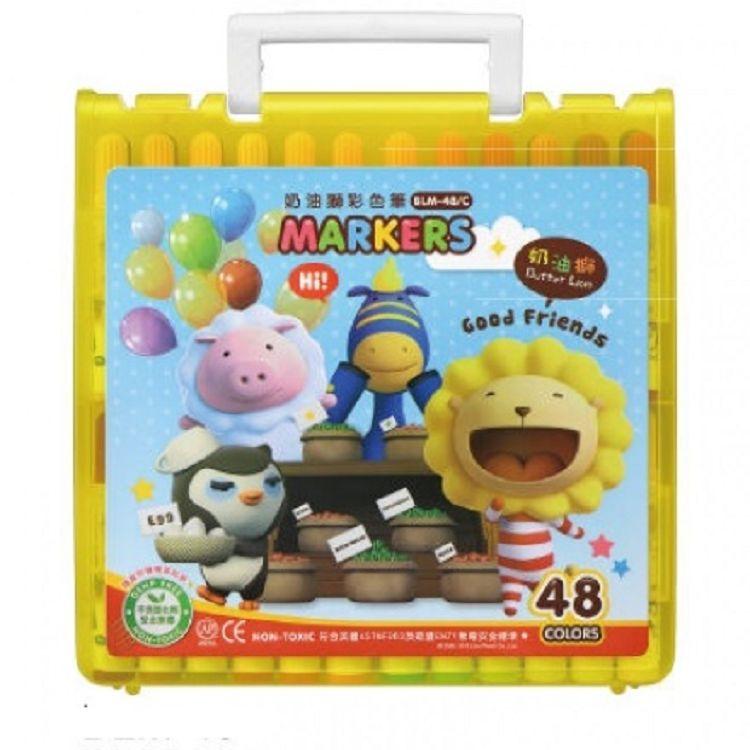 奶油獅透明盒彩色筆48色BLM-48 黃/紅/藍 3色(隨機出貨)