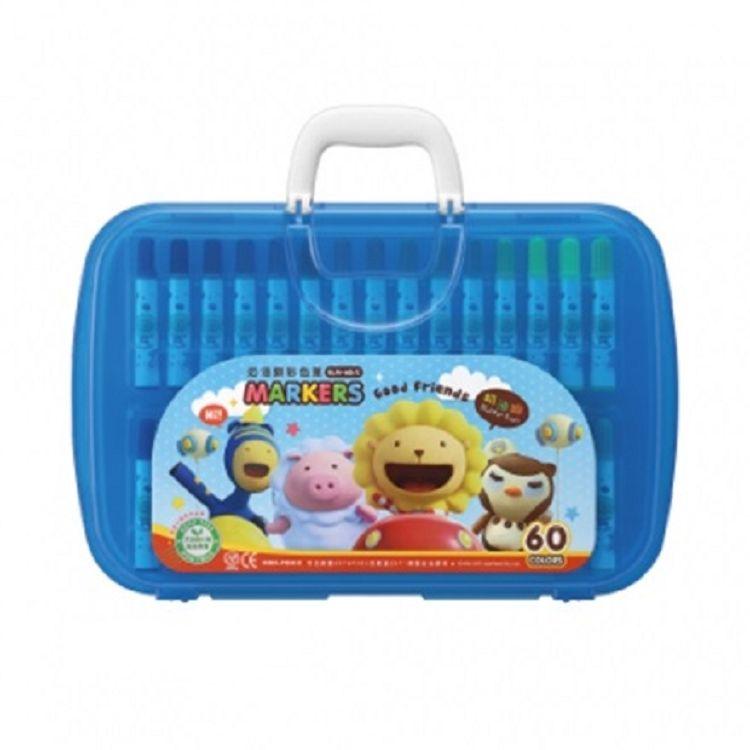 奶油獅透明盒彩色筆60色BLM-60  黃/紅/藍 3色‧隨機出貨