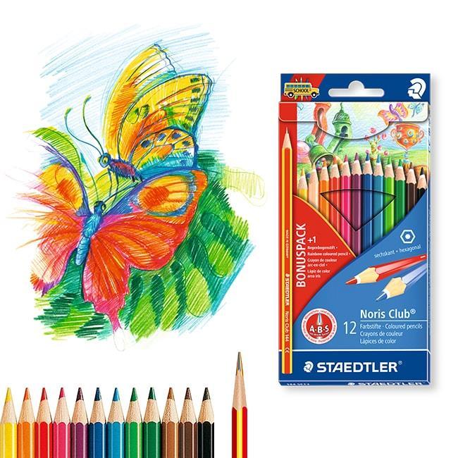 【STAEDTLER施德樓】快樂學園油性色鉛12色+彩虹筆促銷組
