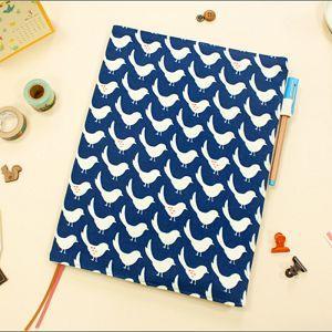 雜誌適用可調式棉麻布書衣/D藍(鴿子)